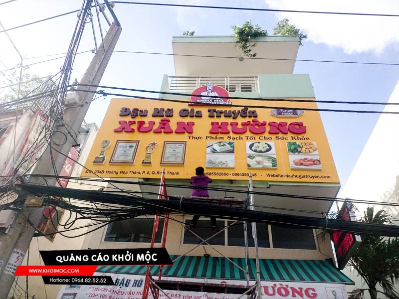bảng hiệu alu cửa hàng Xuân Hường