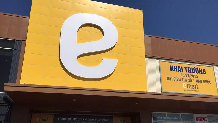 ốp alu mặt dựng tại trung tâm thương mại Emart