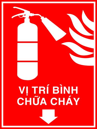 Biển báo vị trí để bình chữa cháy
